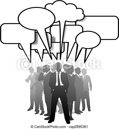 Business people talking communicate in speech bubbles - csp2895361