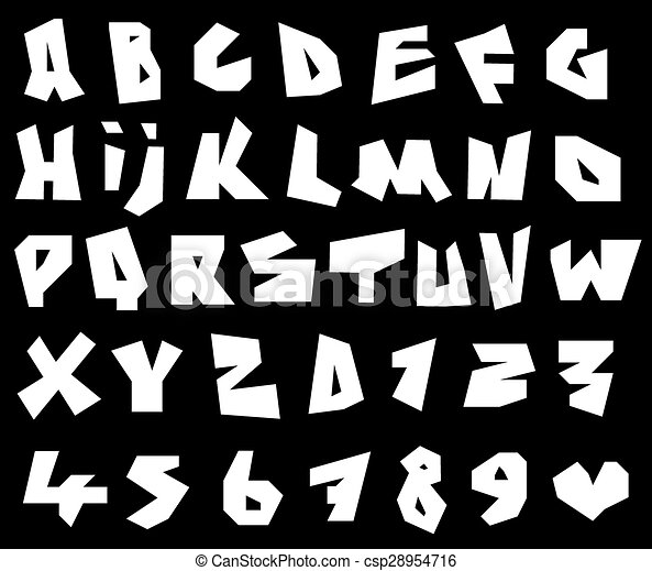Vector Clip Art of paper cut font and number alphabet in white ...