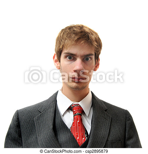 Serious and Direct unemotional man in suit - csp2895879