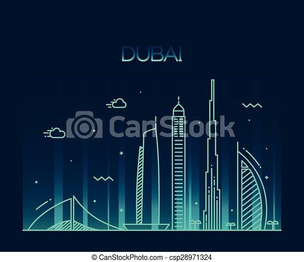 Dubai City skyline Trendy vector line art - csp28971324