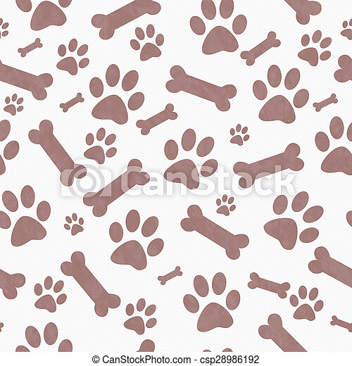 Brown and White Dog Paw Prints and Bones Tile Pattern Repeat Background