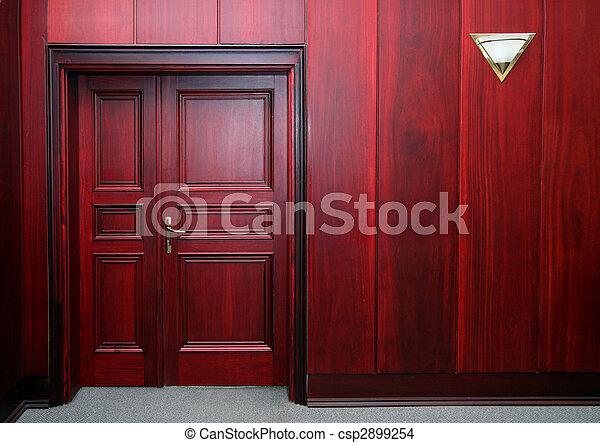 luxury mahogany interior with door - csp2899254