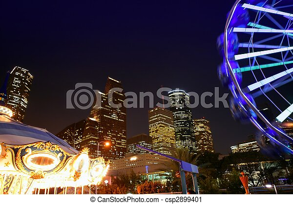 Ferris wheel at the fair night lights in Houston - csp2899401