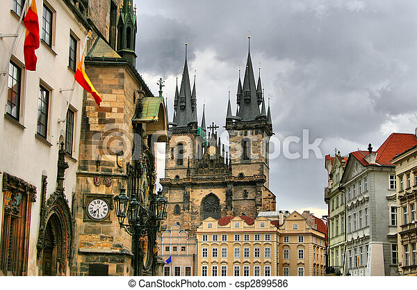 Tyn Cathedral at Prague, Czech republic - csp2899586
