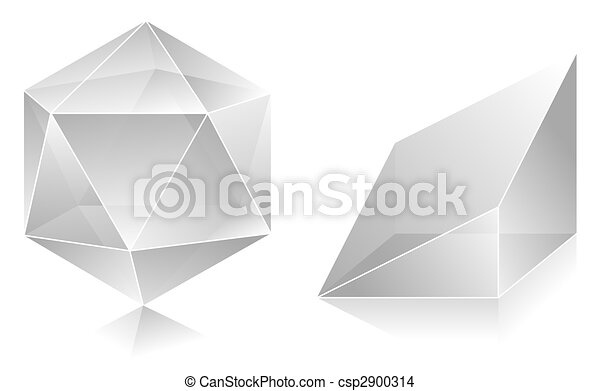 3d Shapes Drawing Blank Translucent 3d Shapes