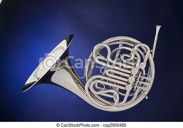 French Horn Silver Isolated On Blue - csp2900485