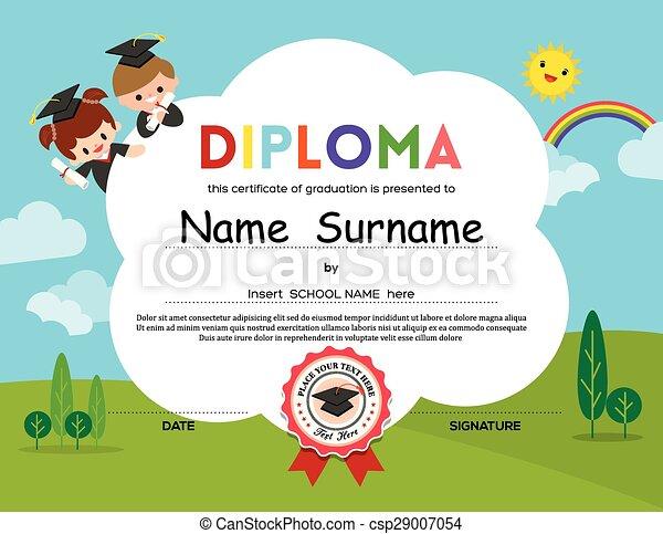 Preschool Elementary school Kids Diploma certificate background - csp29007054