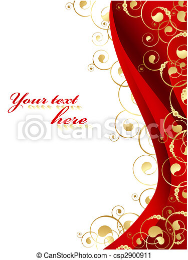 Illustration of the decorated frame in red and gold - csp2900911