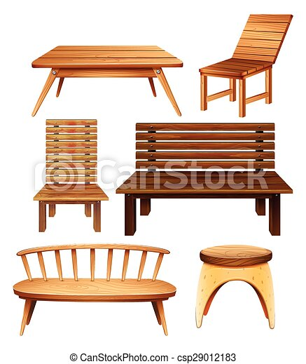 Vector Of Wooden Furniture Wooden Chairs And Table In