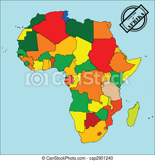 Stock Illustration of Map of africa - Political map of africain ...