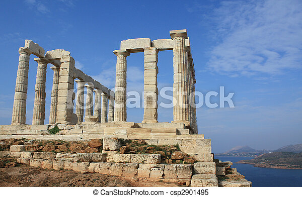 Temple of Poseidon near Athens, Greece - csp2901495