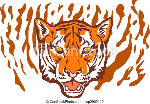 tiger head facing front with stripes in background - csp2902119
