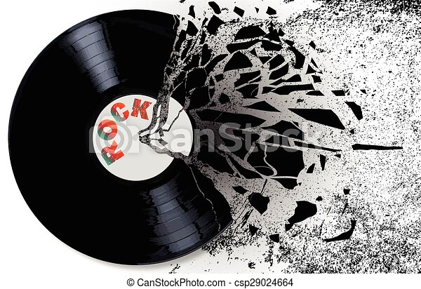 Clip Art Vector Of Shattered Record A Rock Record