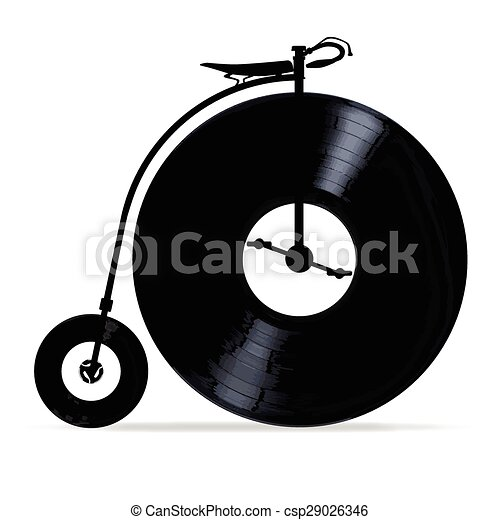 EPS Vector of Penny Farthing With Vinyl Records - A penny farthing ...