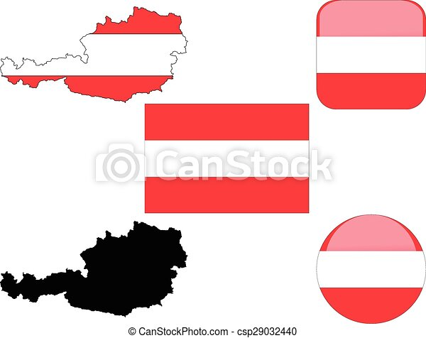 flag buttons map of austria - csp29032440