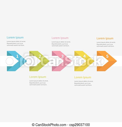 Vector Clipart of Infographic five step with ribbon arrow dashed ...