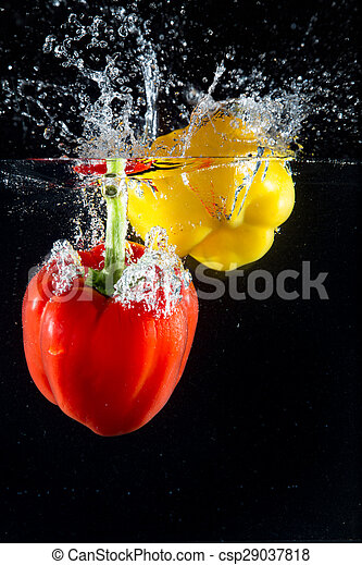 Splash vegetables and fruits