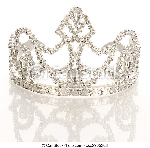 crown or tiara isolated on a white background with reflection  - csp2905203