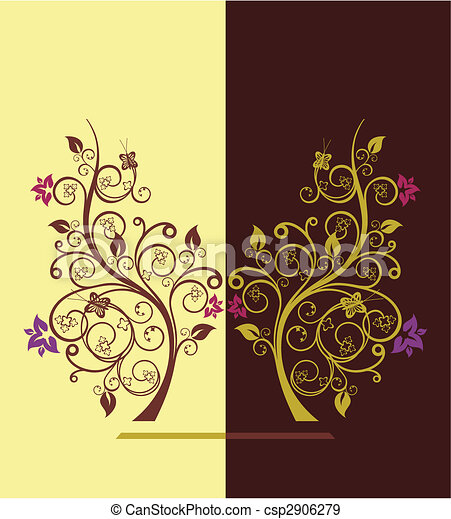 Flowering trees design vector illustration 4 - csp2906279