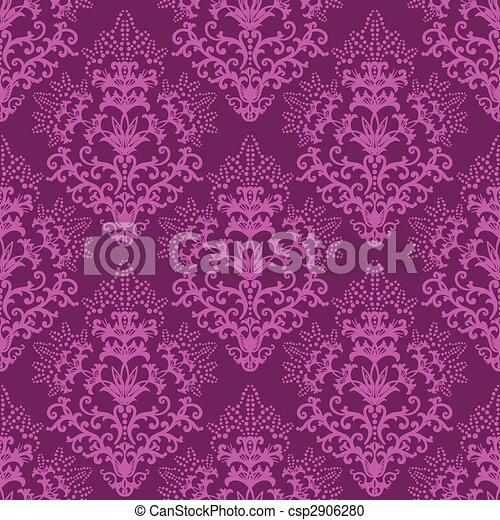 Seamless fuchsia purple floral wallpaper - csp2906280