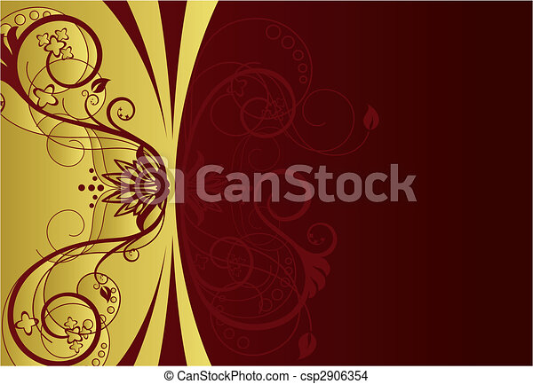 Gold and red floral border design - csp2906354