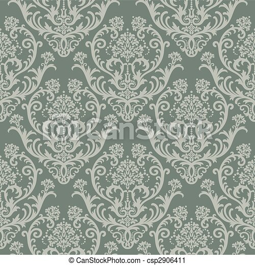 Green floral wallpaper - csp2906411