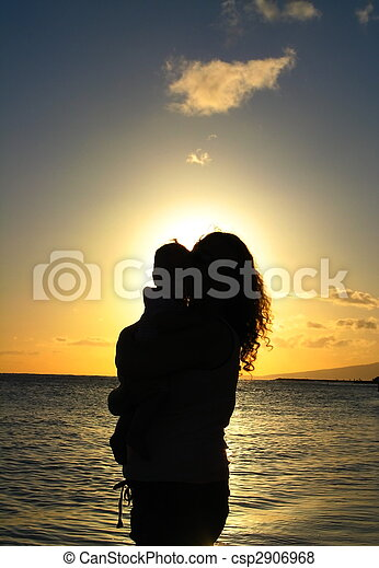Silhouette, mother and child in tropics - csp2906968