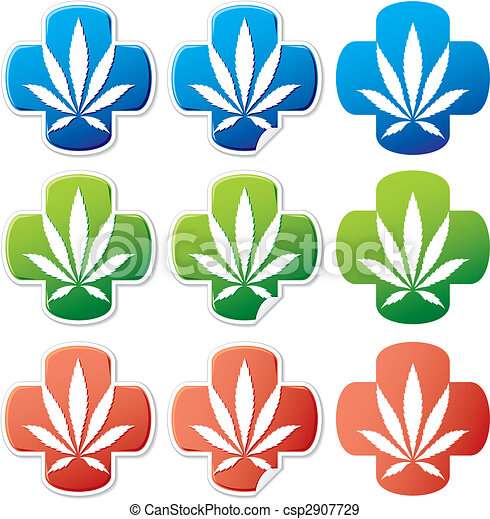 Medical cannabis sticker vector - csp2907729