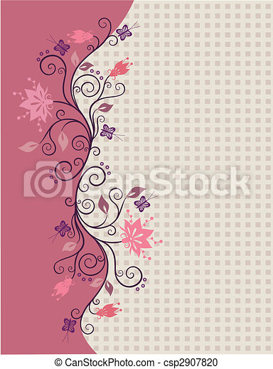 Pink vector flowers border - csp2907820