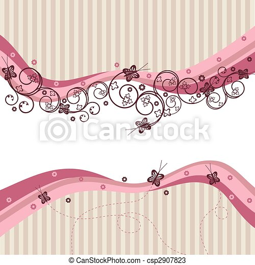 Pink waves, swirls and butterflies - csp2907823