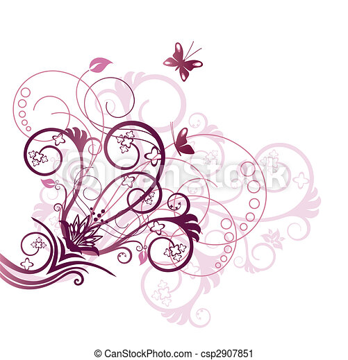 Purple floral design corner element - csp2907851