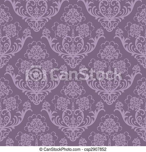 Seamless purple floral wallpaper - csp2907852