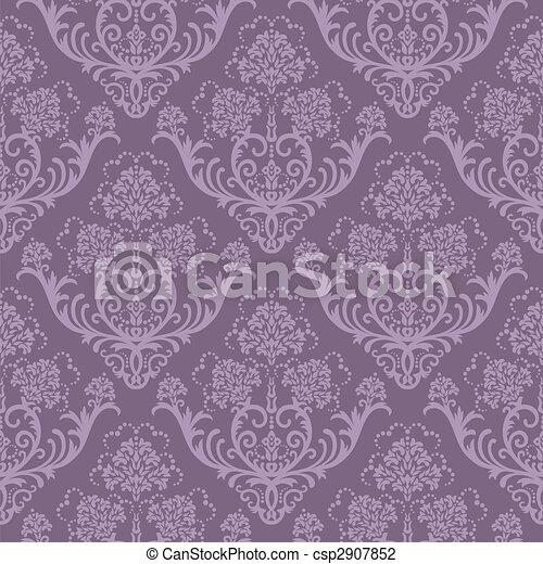 Seamless purple floral wallpaper - csp2907852