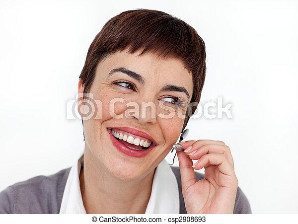 Animated customer service representative using headset  - csp2908693