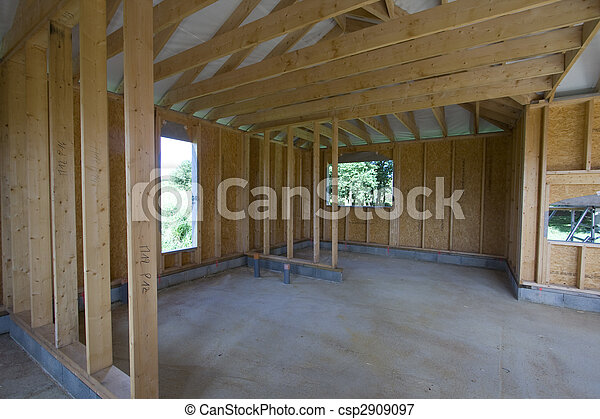 part of a wood house construction - csp2909097