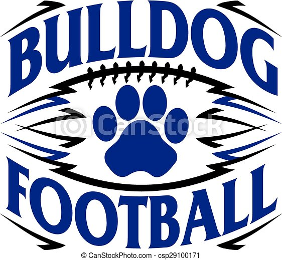 Vectors Illustration of bulldog football design with paw ...