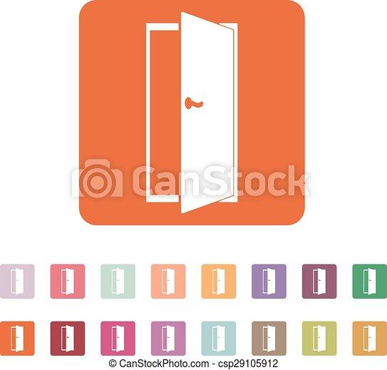 Vector Clip Art of The door icon. Exit and login symbol. Flat ...