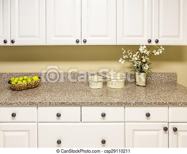 White Cabinets with Granite Countertop