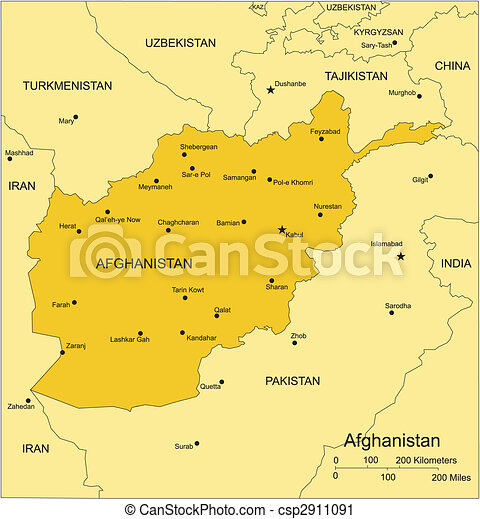 Afghanistan with Surrounding Countries - csp2911091