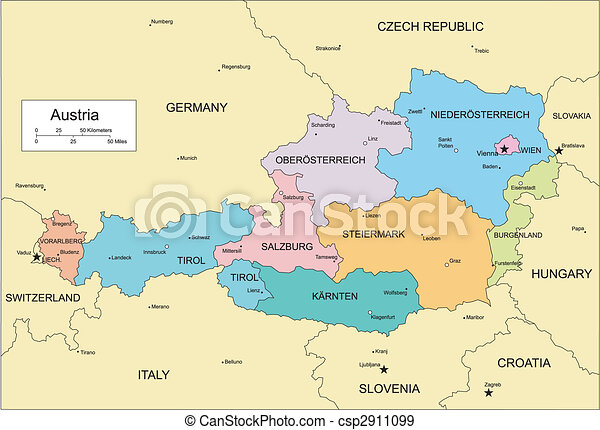 Austria with Administrative Districts and Surrounding Countries - csp2911099