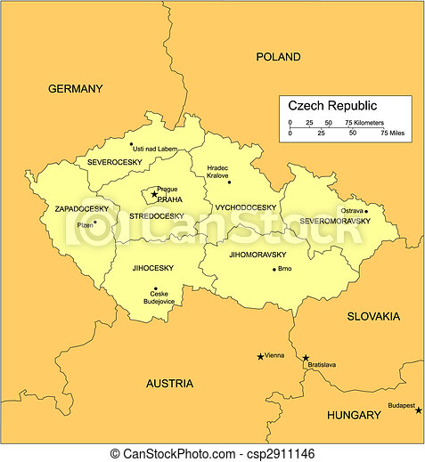 Czech Republic with Administrative Districts and Surrounding Countries - csp2911146