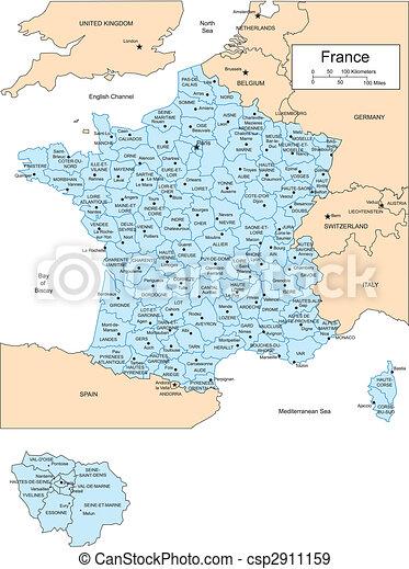 Frankreich mit administrativ bezirke und umgeben länder
