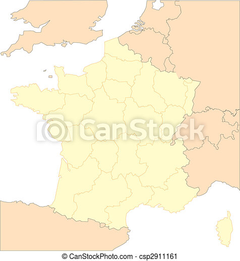 France with Provinces and Surrounding Countries - csp2911161