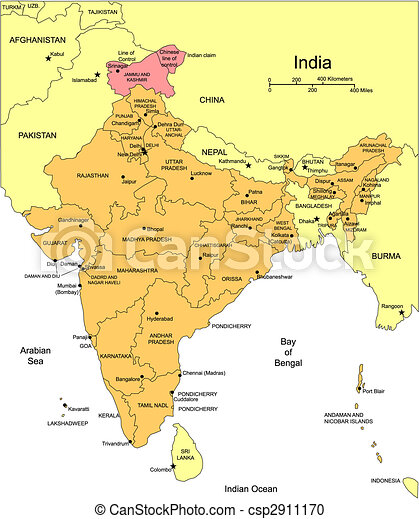 India with Administrative Districts and Surrounding Countries - csp2911170