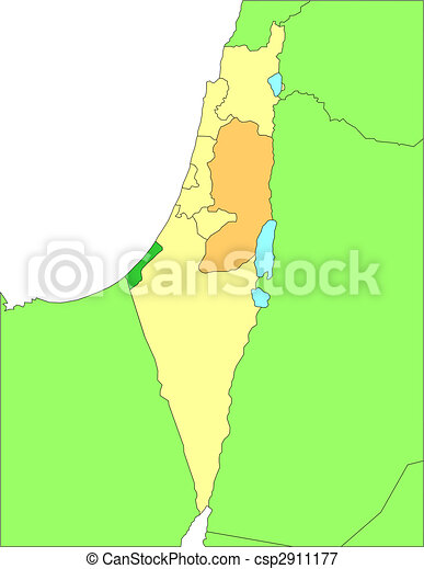 Israel with Administrative Districts and Surrounding Countries - csp2911177