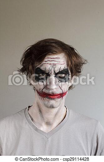 Stock fotos de halloween pintura cara scary hombre - Pintura cara halloween ...