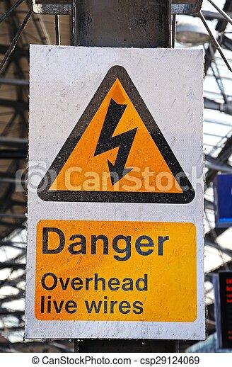 Danger overhead live wires sign.