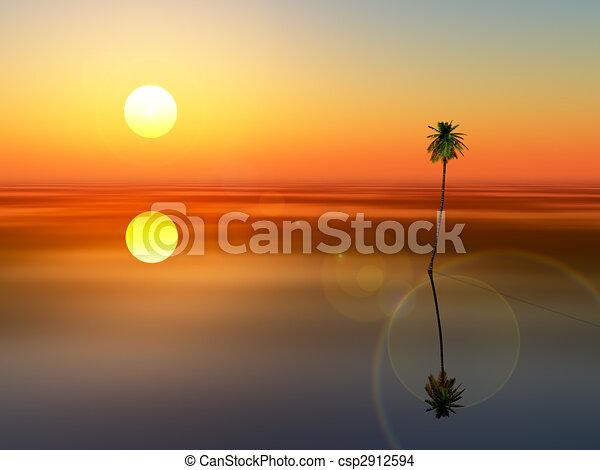 coconut tree sunset sea - csp2912594