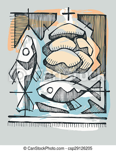 Hand drawn illustration or drawing of 2 fishes and 5 breads, representing Catholic Sacrament of Eucharist