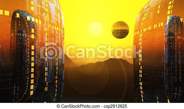 fantasy fiction city sun - csp2912625